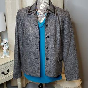 PENDLETON Lambswool/Leather Trim Blazer Gray 6